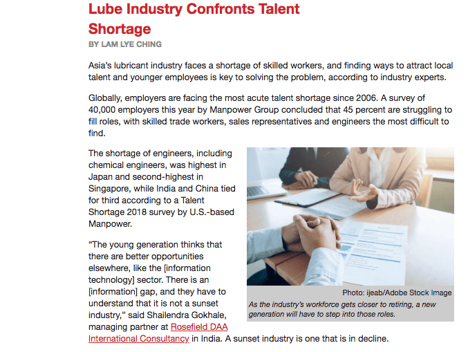 Lubricants Industry Confronts Talent Shortage   Article